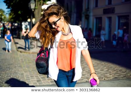 genç · kadın · moda · kadın · dans · turuncu · elbise - stok fotoğraf © Elnur