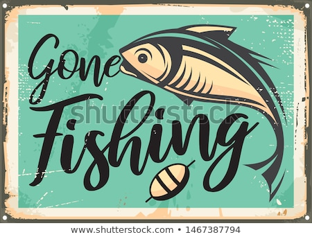 vissen · teken · houten · gazon · madeliefjes · gras - stockfoto © olandsfokus