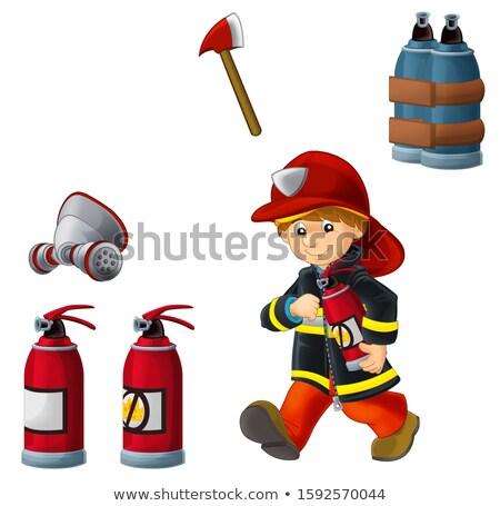 Funny strażak ilustracja pracy hot cartoon Zdjęcia stock © adrenalina