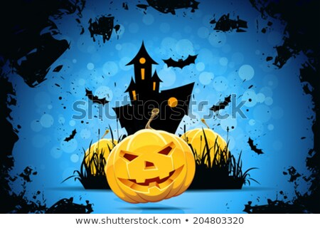 Halloween Party Background with Pampkin Lantern in Grass Stock photo © WaD