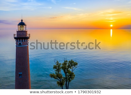 sunset on a great lakes harbor stock photo © wildnerdpix