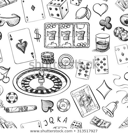 végtelenített · kaszinó · kézzel · rajzolt · minta · kéz · ászok - stock fotó © netkov1