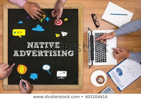 Yerli reklam turuncu klavye düğme erkek Stok fotoğraf © tashatuvango