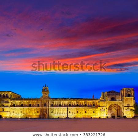 yol · aziz · gün · batımı · Bina · şehir · kilise - stok fotoğraf © lunamarina