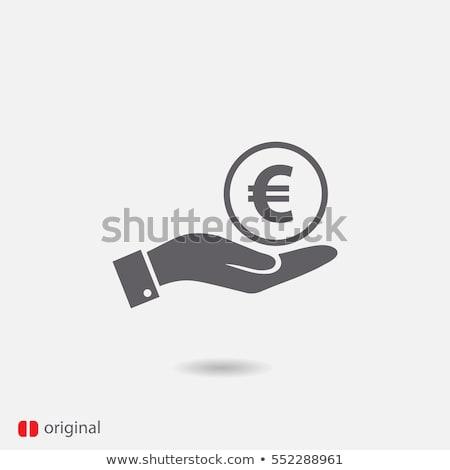 Pénz Euro ikon felirat bank árnyék Stock fotó © kiddaikiddee