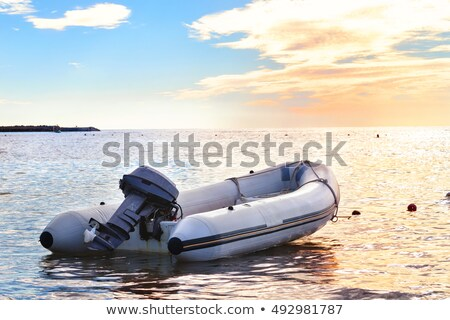 Inflatable boat on river Stock photo © Givaga
