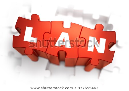 LAN - Text on Red Puzzles. Stock photo © tashatuvango