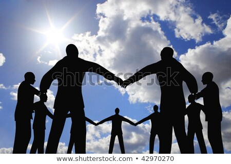 people group circle silhouette on sun sky collage Stock photo © Paha_L