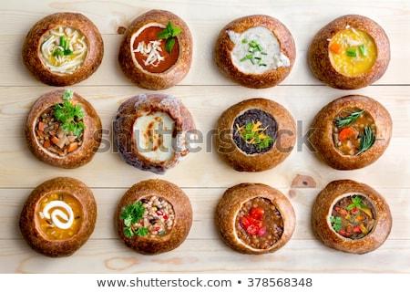 Tápláló zöldségleves kenyér tál padlizsán padlizsán Stock fotó © ozgur