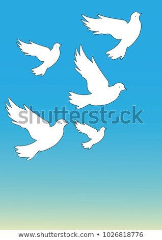 vector flock of many birds flying towards sun Stock photo © freesoulproduction