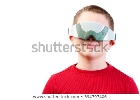 Content boy in red wears virtual reality glasses Stock photo © ozgur