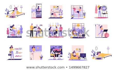 diariamente · vida · mulher · jovem · sessão · sofá · casa - foto stock © dash