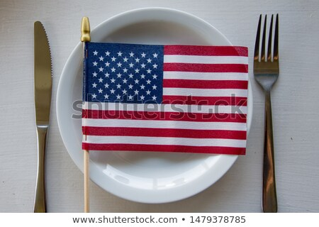 USA and Russia flags with knife - conflict Stock photo © jarin13