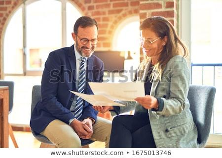 улыбаясь человека очки для чтения изолированный белый улыбка Сток-фото © meinzahn