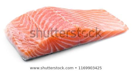 Congelada salmão filé gelo vidro prato Foto stock © Digifoodstock