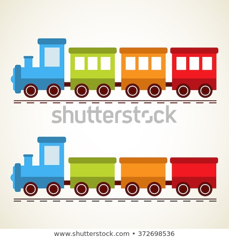 Metal toy train with locomotive and wagons on white background Stock photo © ShawnHempel