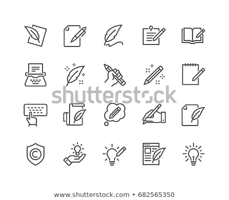 hand with pen icon stock photo © angelp