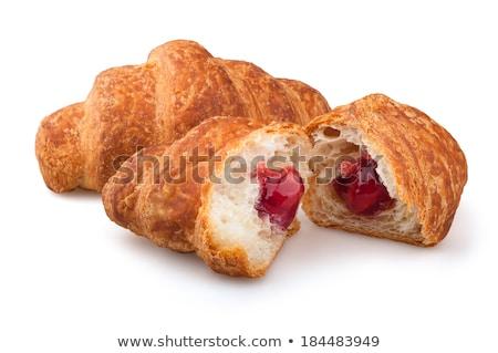 croissants · jam · witte · plaat · ontbijt · houten · tafel - stockfoto © filipw