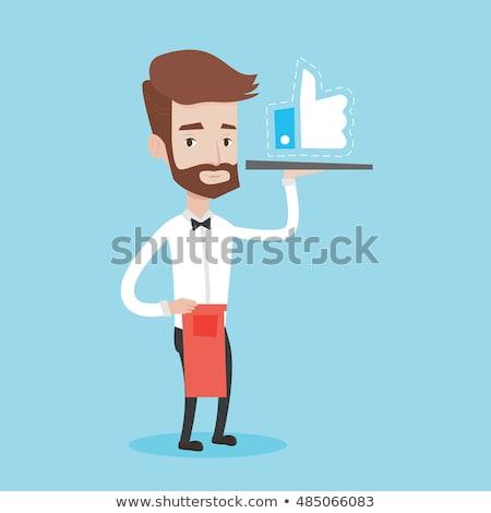 garçom · como · botão · bandeja · café - foto stock © rastudio