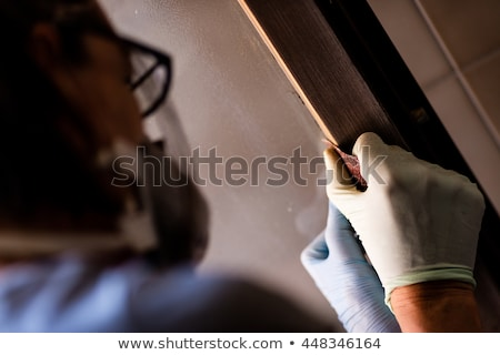 Person in gloves sanding frame around door Stock photo © Giulio_Fornasar