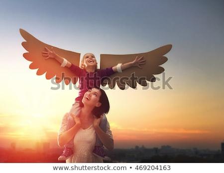 çocuk · kanatlar · kuş · küçük · kız · açık · havada · çocuk - stok fotoğraf © choreograph