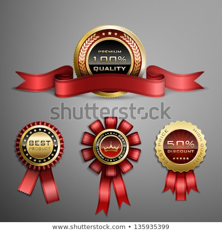 label design with golden star and red ribbon stock photo © bluering