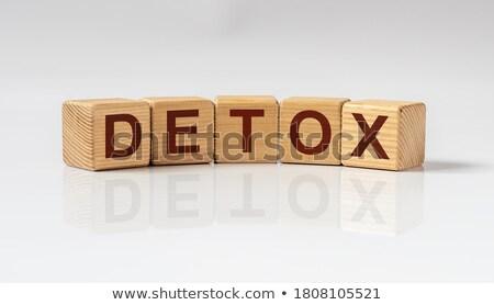 Detoxikáló szó fa asztal fa iskola egészség Stock fotó © fuzzbones0