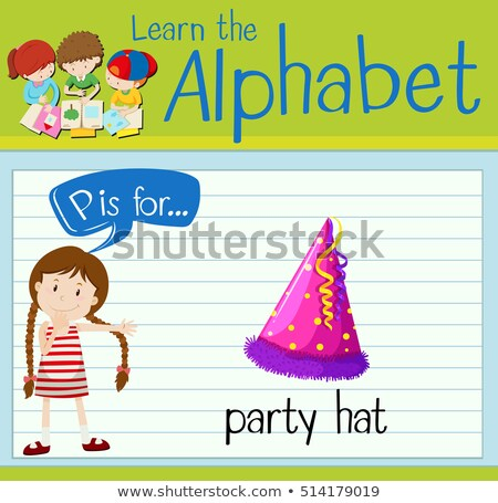 Flashcard letter P is for party hat stock photo © bluering