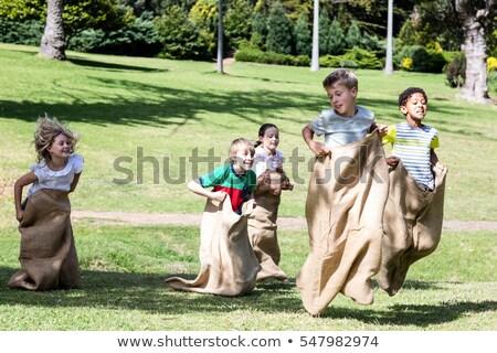 детей играть прыжки мешок парка иллюстрация Сток-фото © bluering