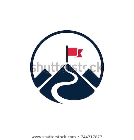 mountain peak with flag vector illustration stock photo © rastudio