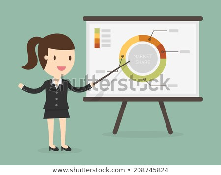Femme d'affaires pointant graphique Finance analytics illustration Photo stock © Evgeny89