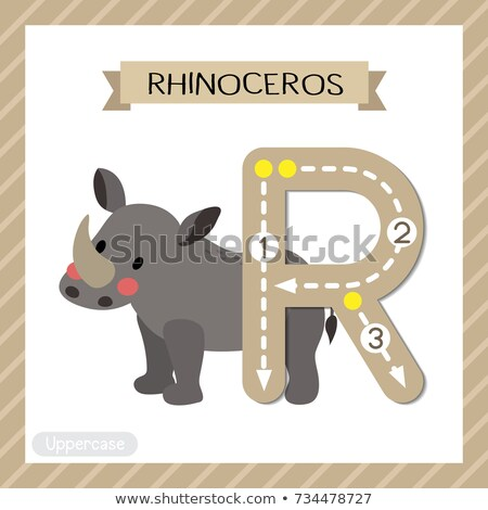 Flashcard letter R is for rhinoceros Stock photo © bluering
