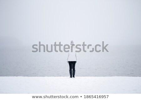 em · pé · sozinho · planeta · acima · nuvens - foto stock © ssuaphoto