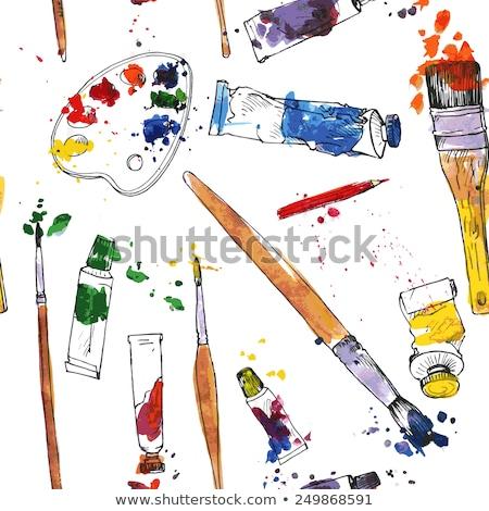 Palette Pinsel malen Spots Vektor Stock foto © day908