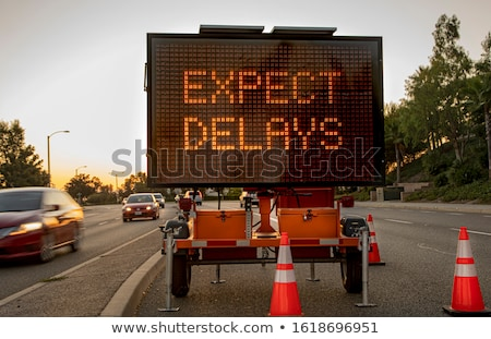 Road works sign on city street Stock photo © stevanovicigor