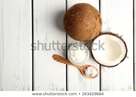 Coco Óleo colher água comida Foto stock © mady70