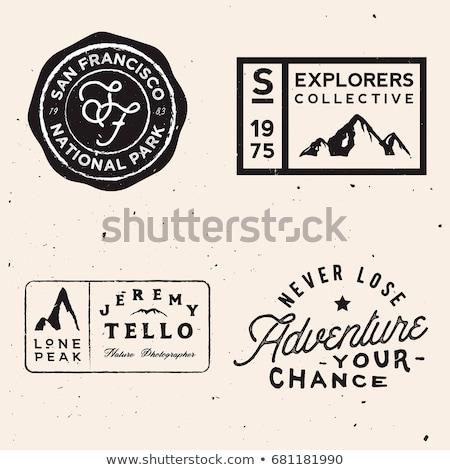 Szabadtér expedíció tipográfia kaland logo poszter Stock fotó © Andrei_