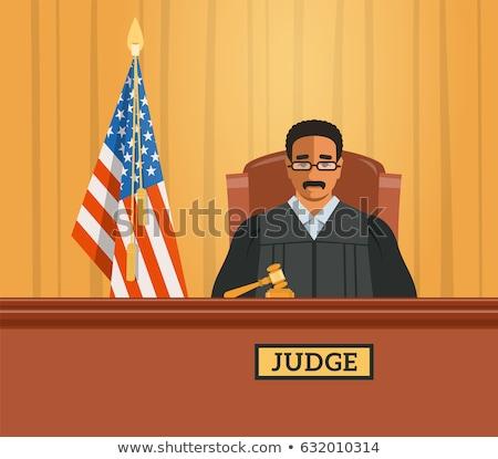 裁判官 黒人男性 法廷 ベクトル 実例 小槌 ストックフォト © vectorikart