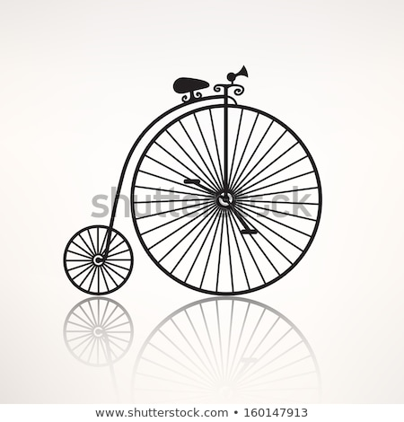 Foto stock: Retro · bicicleta · silhueta · isolado · branco · projeto