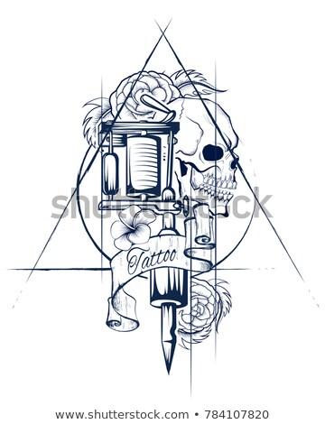 стиль череп печать ретро иллюстрация Сток-фото © vectomart