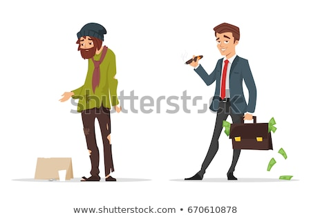 cartoon style characters. Poor and rich man. Stock photo © curiosity