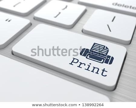 Stock photo: Blue 3D Print Key on Keyboard. 3D Illustration.