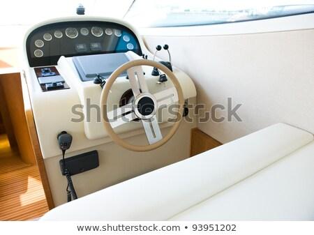 Jacht fülke műszerfal kormánykerék csónak hajó Stock fotó © goce