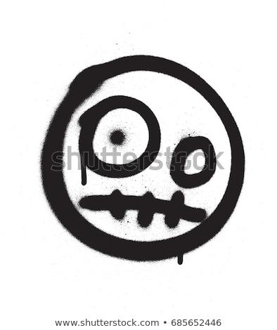 graffiti scary emoji sprayed in black over white Stock photo © Melvin07