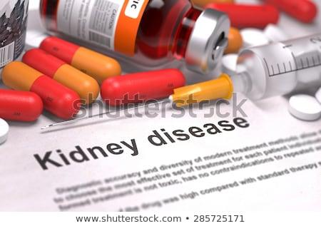 Imprimé diagnostic médicaux orange stéthoscope pilules Photo stock © tashatuvango