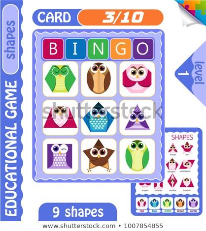 Foto stock: Bingo · formas · forma · corujas · jogo