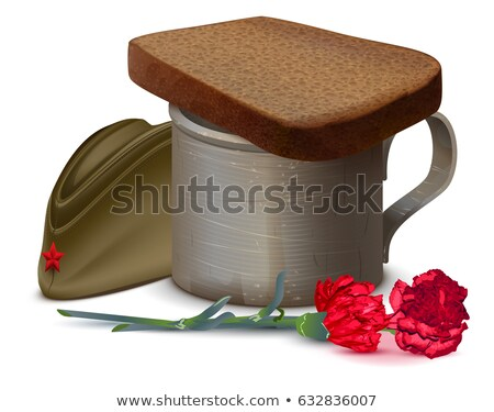 War mug with water, bread, red carnation flower and military cap. Symbol of memory of dead Stock photo © orensila