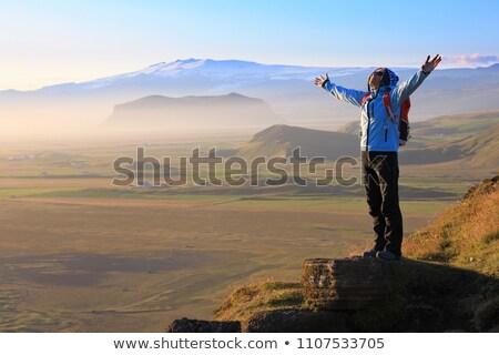 turísticos · senderismo · caminante · hombre · aislado · blanco - foto stock © kotenko