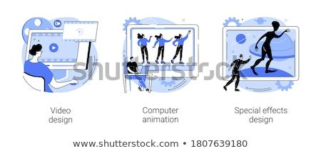 logo · tasarımı · animasyon · stüdyo · kedi · sanat · grafik - stok fotoğraf © olena
