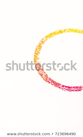 Close up photo of semicircle drawn with pastels chalks, with red Stock photo © deandrobot